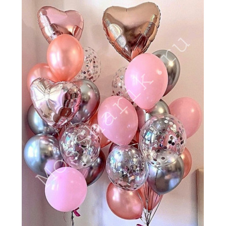 Фонтан из воздушных шаров (розовый и серебро)
