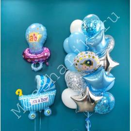 Воздушные шары на выписку мальчика (соска, коляска и фонтан)