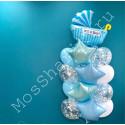 Украшение шарами на выписку (фонтан с коляской)