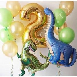 Шары на 2 года на день рождения с динозаврами