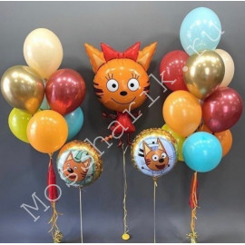 Воздушные шары три кота (Карамелька, Коржик и Компот)