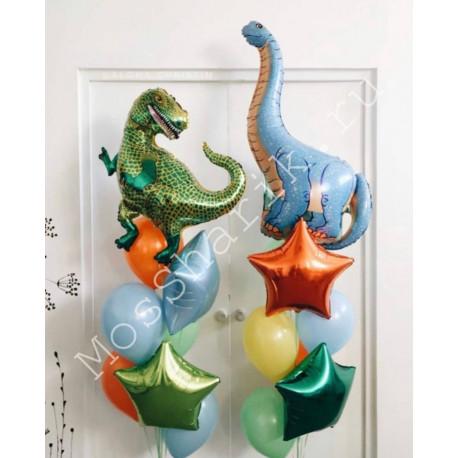 Фонтаны из шаров с динозаврами