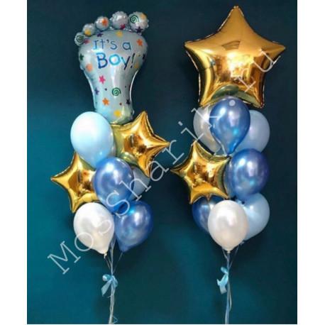 Фонтаны из шаров на выписку из роддома (мальчик)