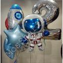 Шары на 2 года фольгированные космонавт и ракета