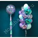 Композиция из шаров: большой шар с конфетти и фонтан