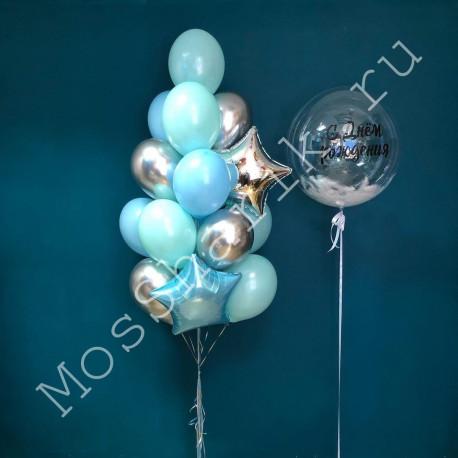 Композиция из шаров: большой шар с перьями и фонтан