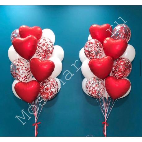 Два фонтана шариков с сердцами и конфетти