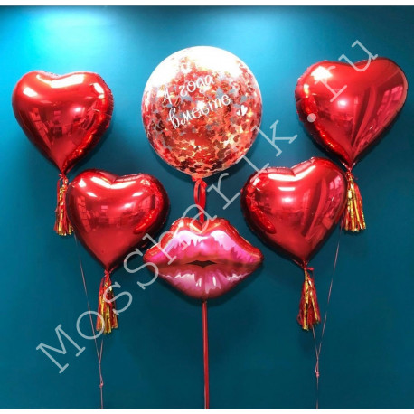 Шары на годовщину (сердца, губы и большой шар с надписью)