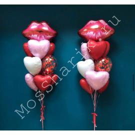 Два фонтана из воздушных шаров сердца и губы