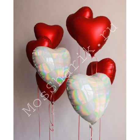 Воздушные шары сердца красные и белые