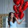 Шары фольгированные сердца красные
