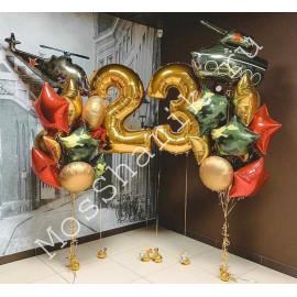 Оформление шарами на 23 февраля с цифрами
