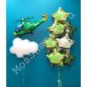 Гелевые шары на 23 февраля (вертолет, облако и звезды)