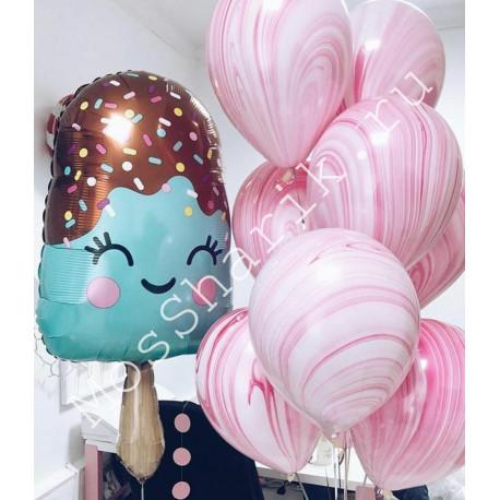 Воздушный шар мороженое и фонтан агатов