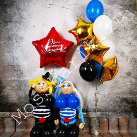 Композиция из шаров на 23 февраля с двумя фигурами