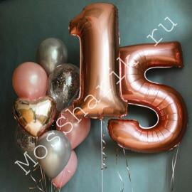 Композиция из шаров на 15 лет (цифры и фонтан)