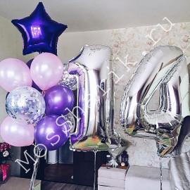 Композиция из шаров на 14 лет (фиолетовый, розовый и серебро)