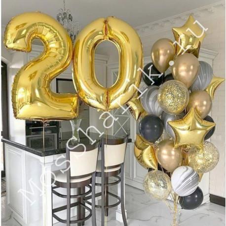 Композиция из шаров 20 лет (золото)