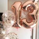 Композиция из шаров на 13 лет (розовое золото)