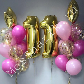 Композиция из шаров на 11 лет девочке (розовый, фуксия и золото)