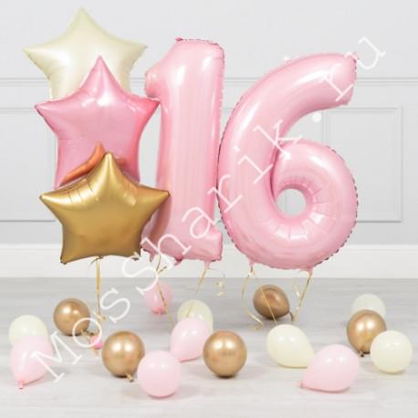 Композиция из шаров на 16 лет (розовый, золото, белый)