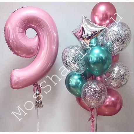Композиция из шаров на 9 лет (цифра и фонтан)