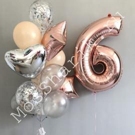 Композиция из шаров на 6 лет (цифра и фонтан)