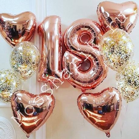 Композиция из шаров на 18 лет (цифры, сердца, конфетти)
