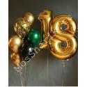 Композиция из шаров на 18 лет (цифры и фонтан) в золоте