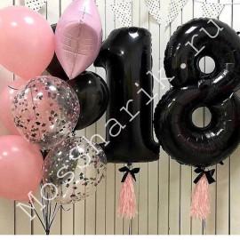 Композиция из шаров на 18 лет девушке (черно-розовая)