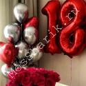Композиция из шариков на 18 лет (цифры и серебристый фонтан с сердцами)