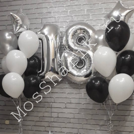 Композиция из шаров на 18 лет (цифры и два фонтана)