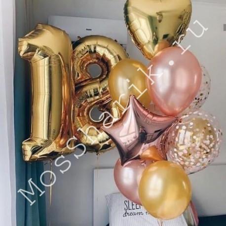 Шарики на 18 лет девушке (цифры и фонтан) розовый и золото