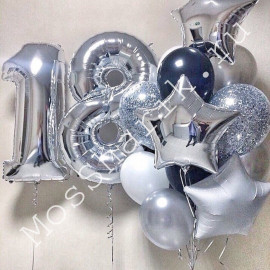 Композиция из шаров на 18 лет (серебро)