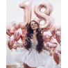 Шары на день рождение на 18 лет (розовые цифры и сердца)