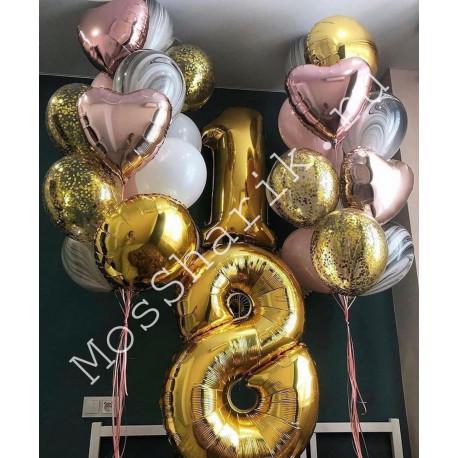Шары на день рождения 18 лет девушке (цифры и два больших фонтана)
