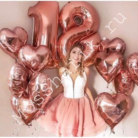 Воздушные шары на 18 лет (розовые цифры и два фонтана из сердец)