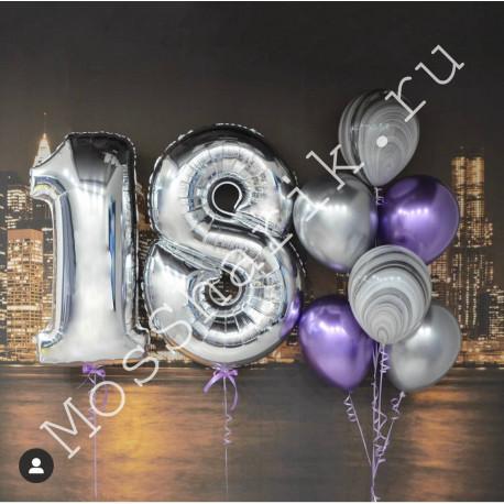 Композиция из воздушных шаров 18 лет (цифры и фонтан)