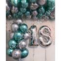Композиция из шаров на 18 лет (шары под потолок, цифры и фонтан)