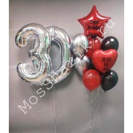 Композиция из шаров на 30 лет: цифры и фонтан (красный, серебро, черный)