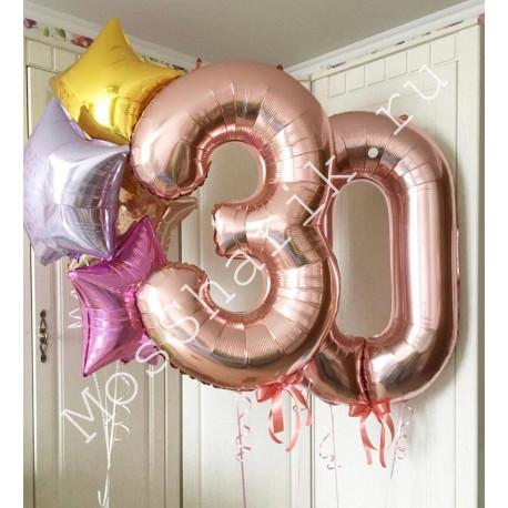 Композиция из шаров на 30 лет: цифры и звездочки