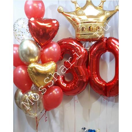 Композиция из шаров на 30 лет: цифры с короной и фонтан