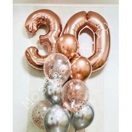 Композиция из шаров на 30 лет: цифры и фонтан (розовое золото и серебро)