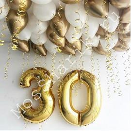 Композиция из шаров на 30 лет (цифры и под потолок)