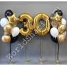 Композиция из шаров на 30 лет цифры и два фонтана со звездами