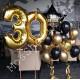 Композиция из шаров на 30 лет цифры и два фонтана со звездой с надписью