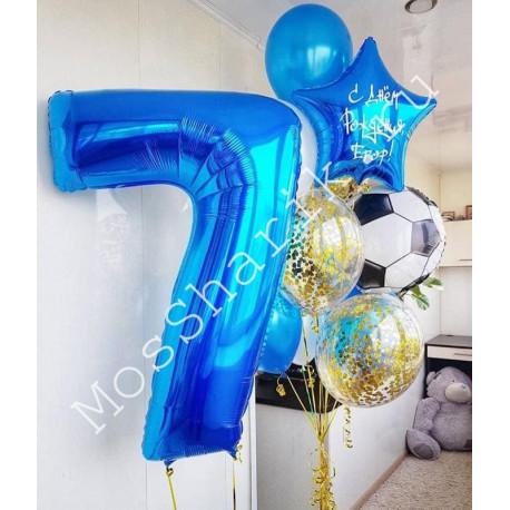 Композиция из шаров на 7 лет: цифра и фонтан со звездой с надписью
