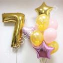 Композиция из шаров на 7 лет: цифра и фонтан со звездами и сердцем