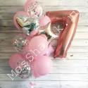 Композиция из шаров на 7 лет: цифра и фонтан (розовый и серебро)