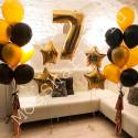 Композиция из шаров на 7 лет цифра, звезды и два фонтана